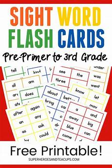 Flash Cards Words Dolch Sight Word Flash Cards Free Printable For Kids