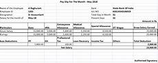 Salary Slip Format India Salary Slip For 25000 Per Month In India 2019