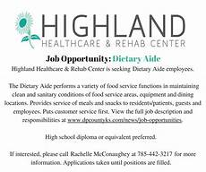 Dietary Aide Job Description Dietary Aide Job Opportunity At Highland Healthcare