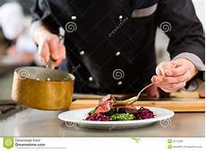 Saucier Chef Chef In Hotel Or Restaurant Kitchen Cooking Stock Image
