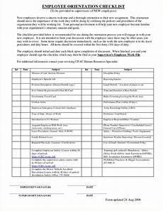 Orientation Checklist New Employee Orientation Checklist Template Business