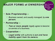 Three Types Of Business Ownership Bus110 Chap 5 How To Form A Business