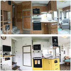 before and after fifth wheel renovation 188sqft