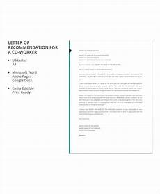Co Worker Recommendation Letter Free 6 Sample Recommendation Letter For Coworkers In Pdf