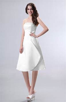 white simple a line strapless zipper knee length draped