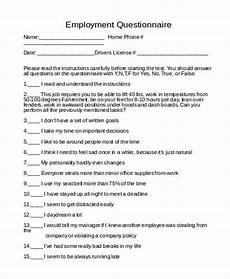 Employment Questionnaire Free 8 Sample Employment Questionnaire Forms In Pdf Ms Word