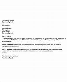 Thank You For Interview Letter Template 9 Post Interview Thank You Letter Template Free Sample