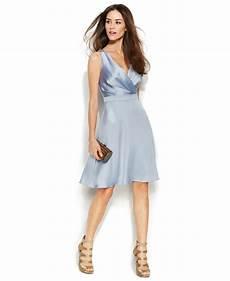 Calvin Klein Light Blue Dress Calvin Klein Sleeveless Satin Surplice Neck Dress In Light