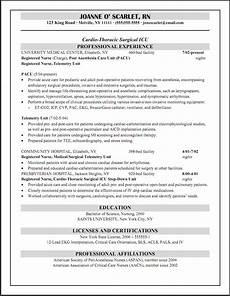 Pacu Rn Resume Pacu Rn Cicu Registered Nurse Resume Job Hunting Registered