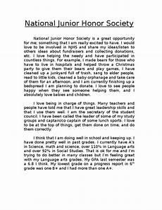 Njhs Essay Example National Junior Honor Society Application Essay