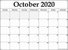 October 2020 Calendar Template October 2020 Calendar Free Printable Monthly Calendars