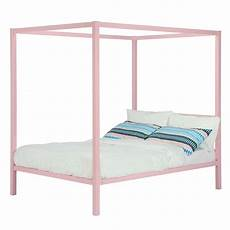 size metal platform canopy bed frame in pink great