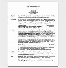 Resume Outline Sample Resume Outline Template 19 For Word And Pdf Format