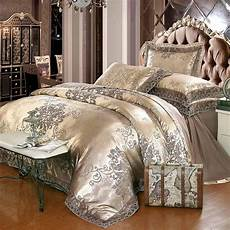 luxury jacquard bedding set king size bed linen silk