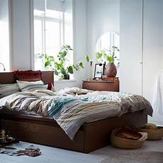 ikea malm bed frame high w 4 storage boxes brown