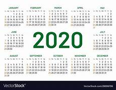 Basic Calendar 2020 Pocket Calendar 2020 Year Royalty Free Vector Image