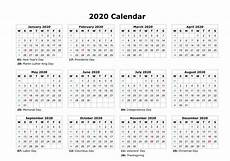 Free Printable Monthly Calendar 2020 12 Month Calendar 2020 Printable With Holidays Monthly