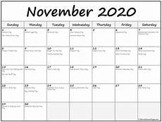 November 2020 Calendar Printable Free November 2020 Calendar With Holidays