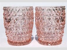 vintage pink depression glass tumblers, buttons & bows