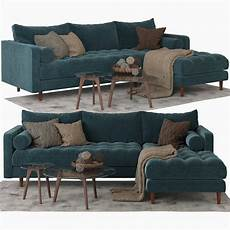 Blue Sofa Set 3d Image by 3d Model Sven Sectional Sofa 176 Free In 2020
