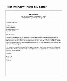 Sample Post Interview Thank You Letter Free 6 Sample Thank You Letter Templates In Ms Word Pdf
