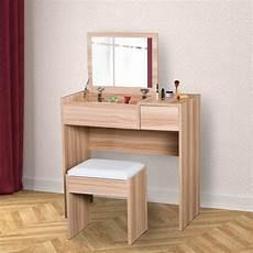 homcom dressing table set cushioned stool flip up mirror