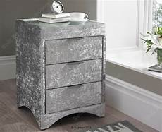 kaydian valencia crushed silver velvet fabric bedside by