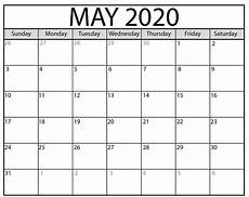 Blank May Calendar 2020 May 2020 Calendar Pdf For School Free Printable Calendar