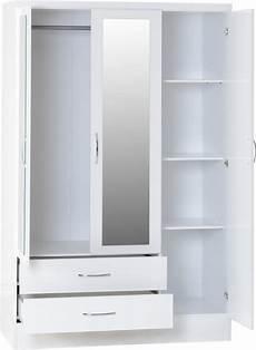 nevada 3 door 2 drawer mirrored wardrobe white