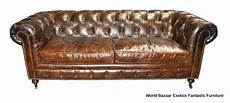 Wood Frame Sofa 3d Image by 84 Quot Sofa 3 Seater Tufted Vintage Leather Birch Wood Frame