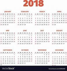 A Year Calendar Simple 2018 Year Calendar Royalty Free Vector Image