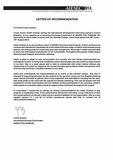 How To Use A Letter Of Recommendation Recommendation Letter Aiesec