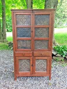 antique pie safe cabinet cupboard 14 punched tins ebay