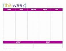 Week Calander Free Printable 1 Week Calendar Ten Free Printable