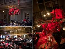 high crimson red reception table centerpieces and