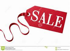 Sales Ticket Sale Price Tag Or Ticket With Red Ribbon Isolated On White