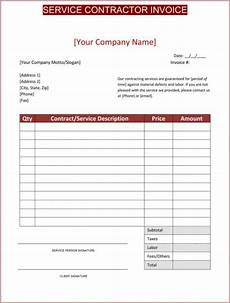 Bill Format For Works Contract Contractor Invoice Template Invoice Template Word
