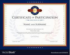 Free Certificates Of Participation Certificate Of Participation Template With Laurel Vector Image