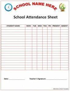 Printable Attendance Chart For Kids Free Preschool Attendance Sheet Printable Attendance