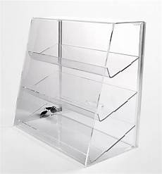 clear acrylic display w 2 shelves locking display