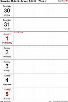 free weekly calendar template 2020 weekly calendar 2020 uk free printable templates for pdf