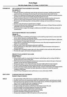 Examples Of Project Management Resumes Project Management Manager Resume Samples Velvet Jobs