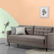 zinus mid century upholstered 76in sofa living room
