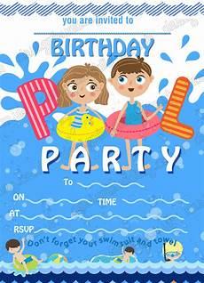 Pool Birthday Party Invitations Birthday Invitations Swimming Pool Party Swimming Party