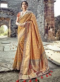 buy orange and red pure banarasi silk wedding wear saree