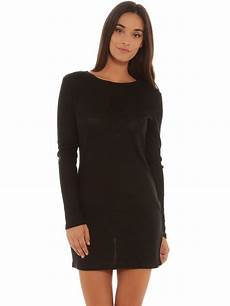 glamorous sleeve bodycon knit dress in black