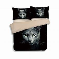 mystery black cat print bed linens 3d duvet cover set