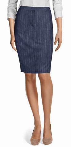 navy blue striped linen one button skirt suit with peak