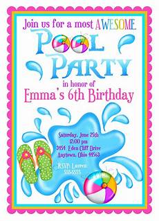 Pool Party Invitations Wording Pool Party Invitations Personalized Invitations Girl