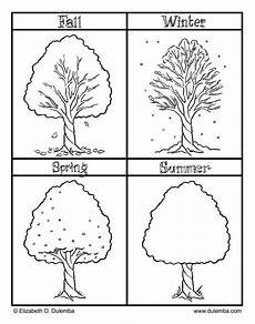 printable seasons coloring pictures with fall winter